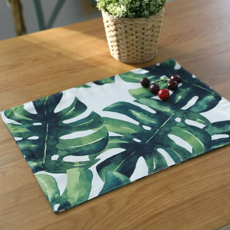 Free Shipping 4 Piece Lot Big Green Leaves Cotton Line Tablecloth Placemats Insulation Pad Plain Coasters Table Mat Napki Placemats Printed Napkins Table Cloth