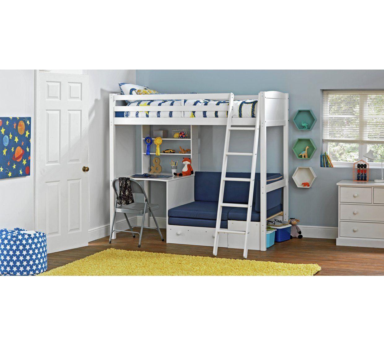 Argos Home Clic High Sleeper Blue Sofa Bed White