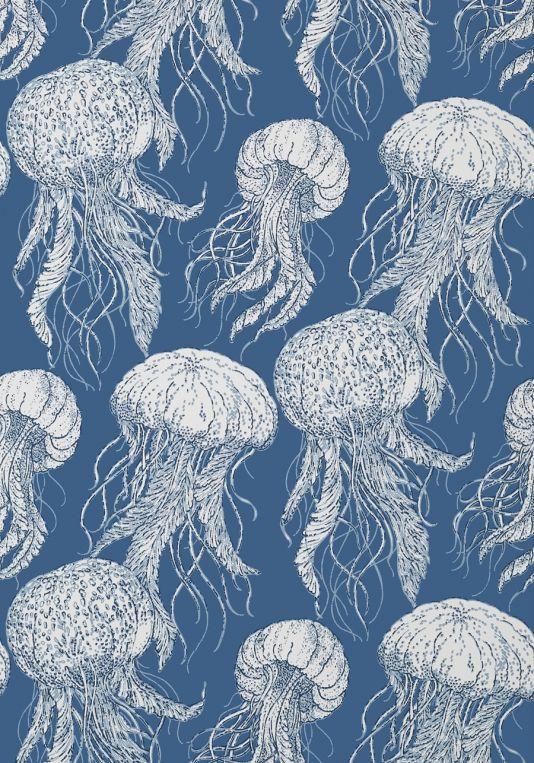Jelly Fish Bloom Wallpaper Nautical Wallpaper Coastal Wallpaper Thibaut Wallpaper