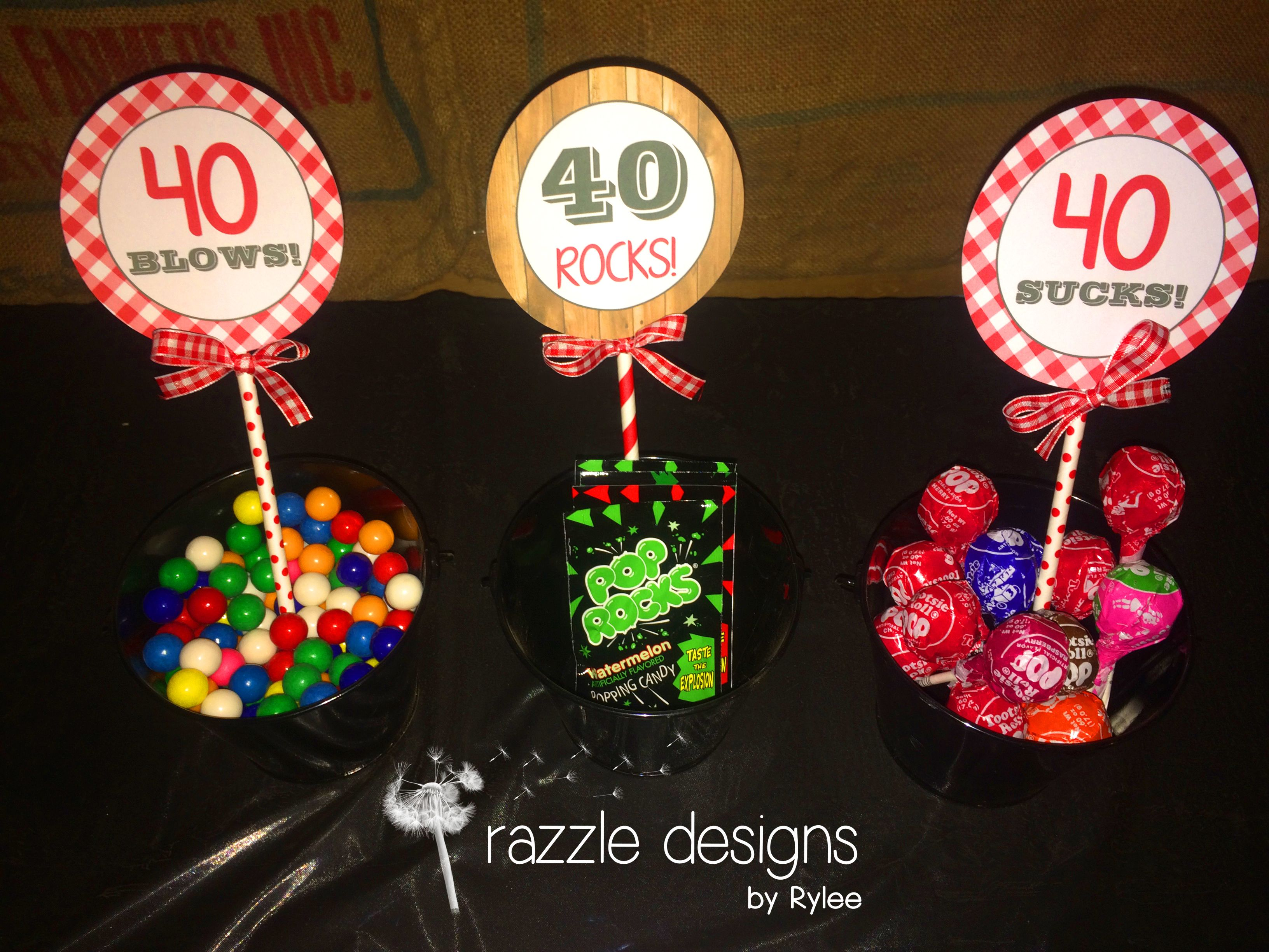 Photo sent in from Jennifer Ruta. Customized items to match our Down On The Farm Party Package. 40 Blows with gumballs, 40 Rocks with pop rocks & 40 Sucks with suckers! CUTE! https://www.facebook.com/razzledesignsbyrylee