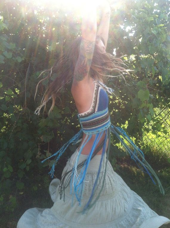 A Glance at Earth  Crochet Festival Halter Top by HorizonsEd3e, $60.00