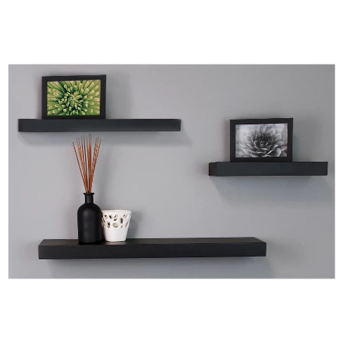 Maine Decorative Wall Ledge Shelf Set Of 3 Black Floating