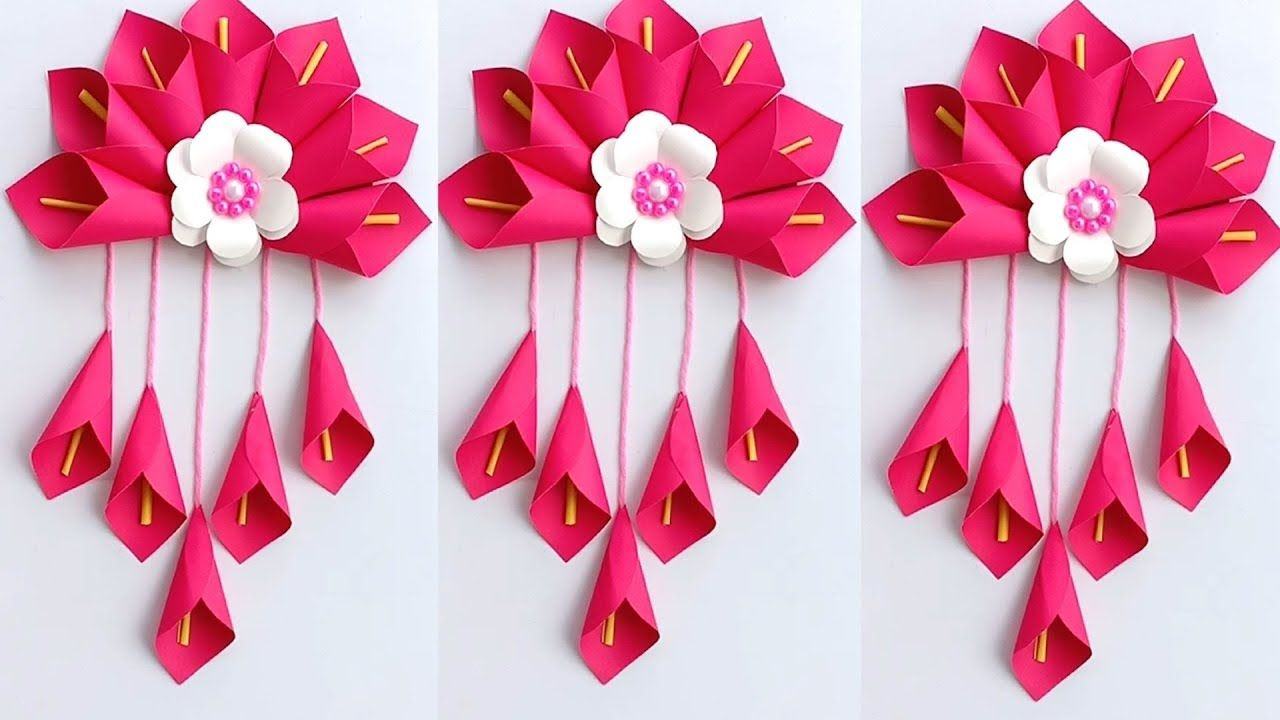 Diy Simple Home Decor Wall Decoration Hanging Flower Paper Craft Ideas Paper Craft Paper Flowers Craft Flower Diy Crafts Paper Crafts Diy Kids