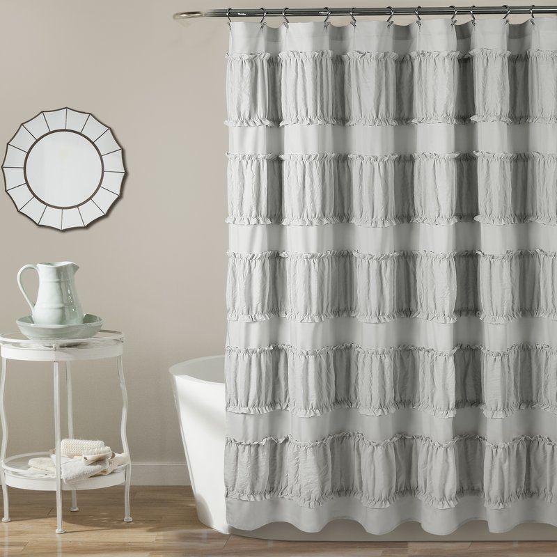 Burkhalter Solid Color Single Shower Curtain Hooks Ruffle