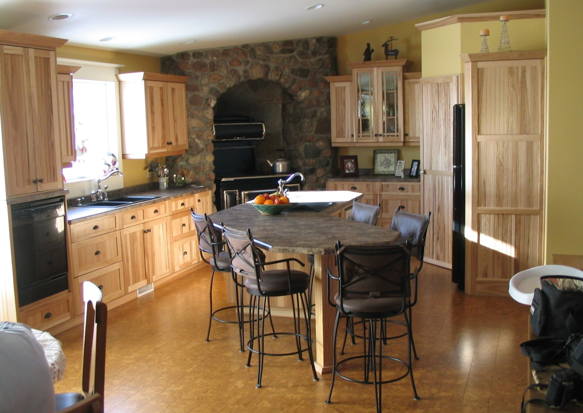 Pin By Julie Bennett On Rustic Countertops Hickory Cabinets Home