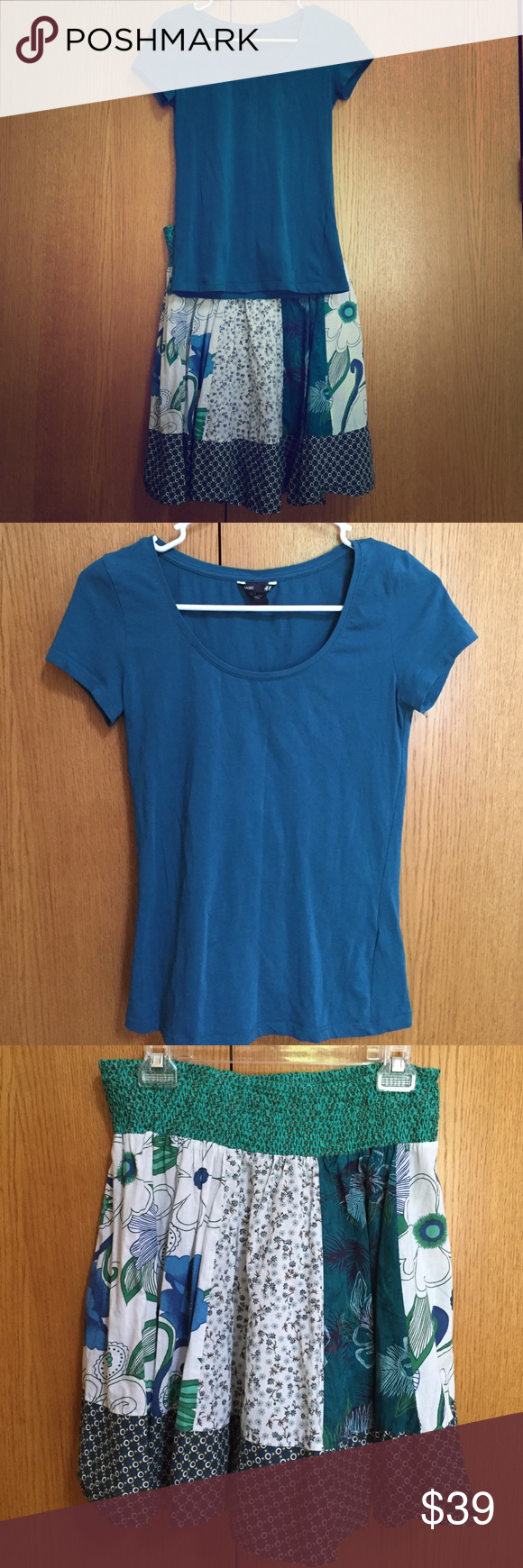 """Teal short sleeve top and color coordinated Skirt Size small teal EUC short sleeve H&M top with NWOT skirt 20"""" length, stretchy waist, Fire Los Angeles size M skirt colors match top- teal, white, blue, green pattern. Skirt fits small to medium. Nice outfit! Fire Los Angeles Other"""