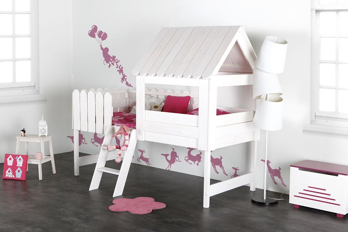 Chambre Lit Cabane Fille lit cabane enfant en pin blanc little house | deco chambre