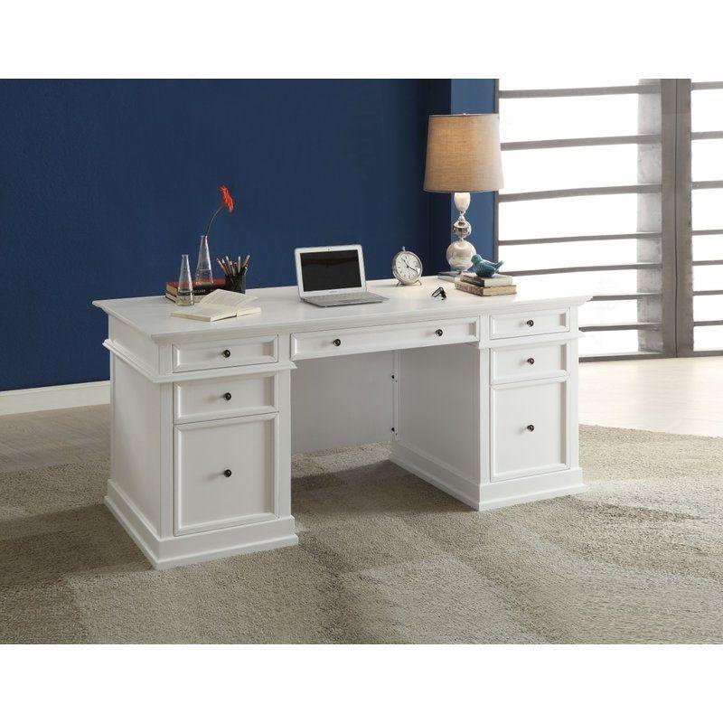 Longshore Tides Charette Functional Office Executive Desk Wayfair White Wooden Desk White Desk Office Desk With Drawers