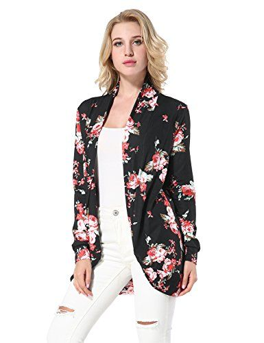da1a2b62e8 Frumos Womens Open Front Short Sleeve Printed Cardigan Sweater Made In USA
