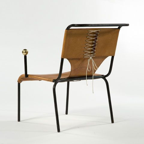 Lina Bo Bardi, Brazil Armchair with frame in black iron and leather seat.