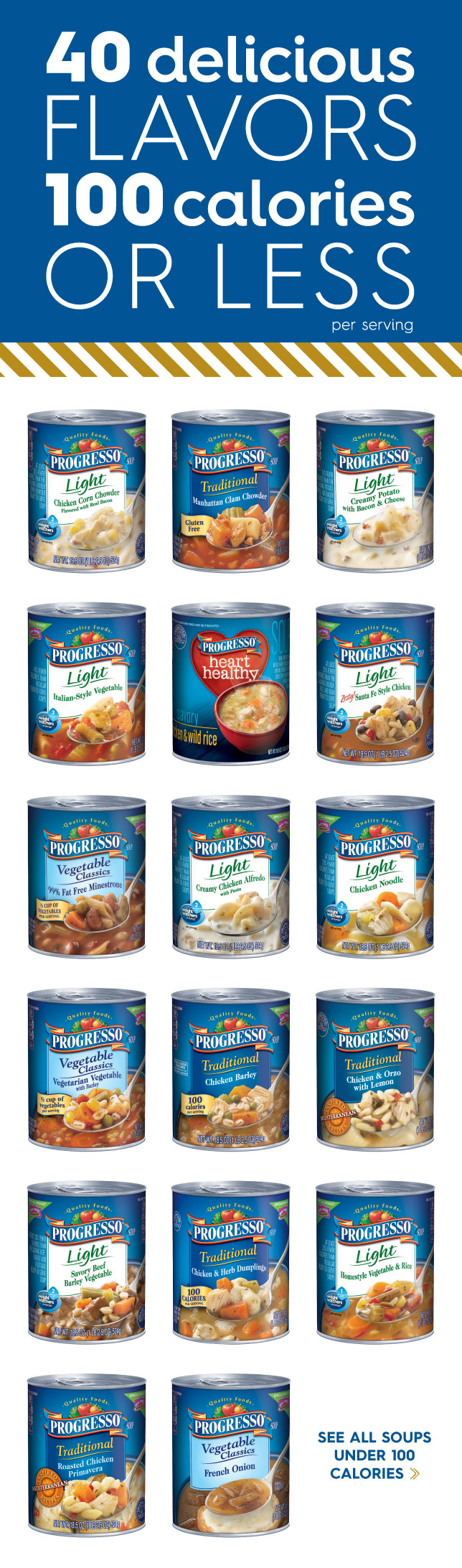 Progresso Light Soups 40 Delicious Flavors 100 Calories Or Less