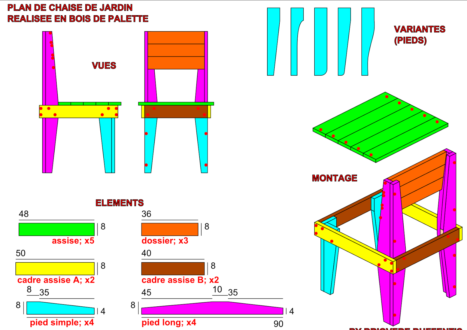 Tutoriel construction chaise en palettes d co pinterest plans de meubles meuble en for Chaise de jardin en palette