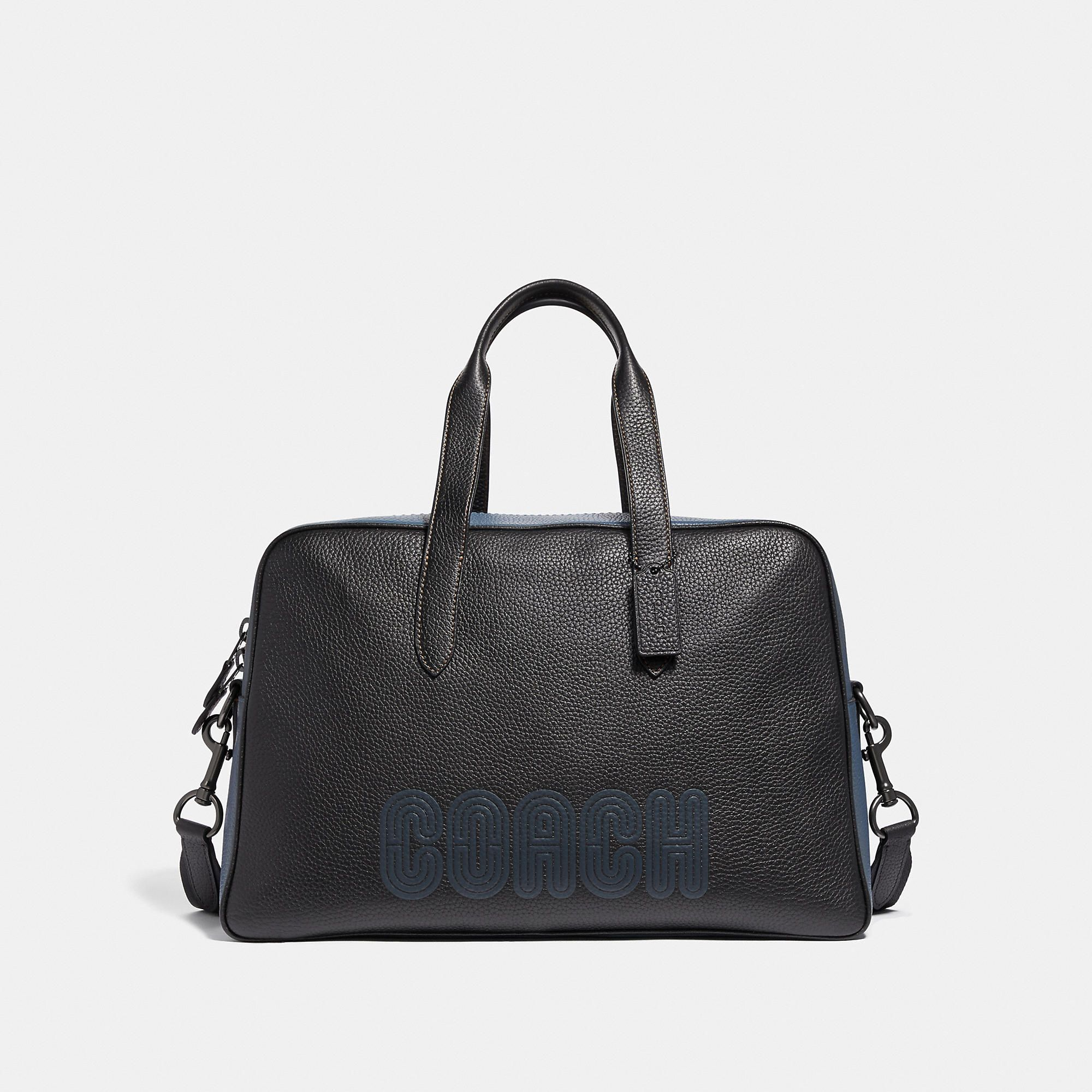 Coach Metropolitan Soft Carryall With Patch In Black Black Copper Finish Modesens Carryall Coach Leather Bags