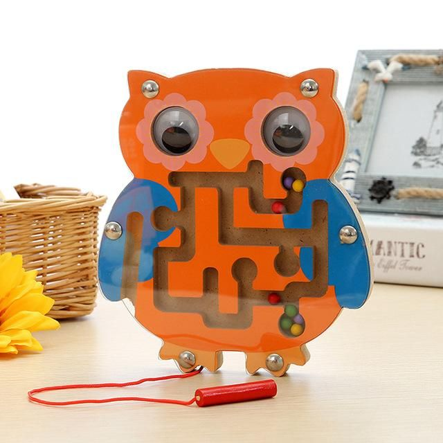 Kids/' Intellectual Magnetic Maze Wooden Walk Bead Animal Educational Toys Puzzle