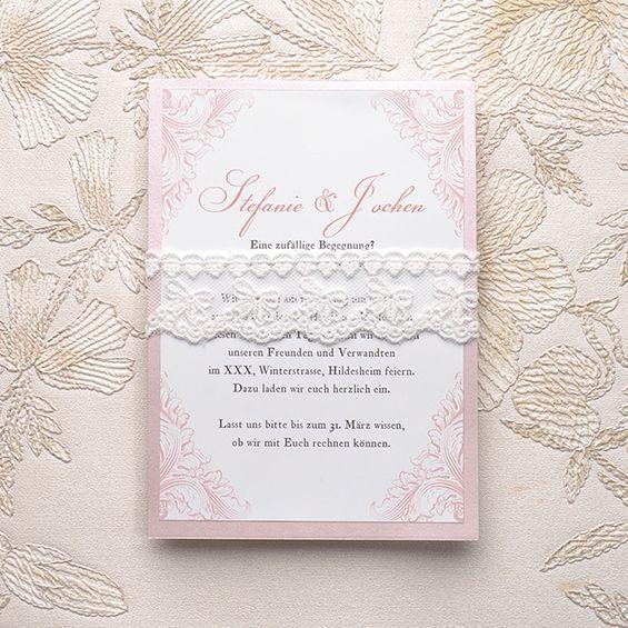 blush pink spitze einladungskarten hochzeit kpl050. Black Bedroom Furniture Sets. Home Design Ideas
