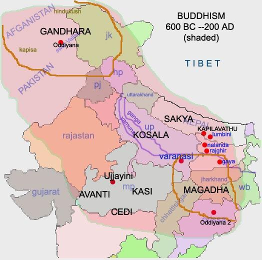 Map Showing Locations Of Magadha And Gandhara Relative To Modern Day Indian States And Pakistan India World Map History Of India History