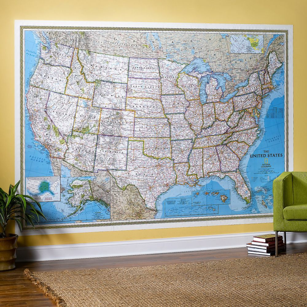 United states classic wall map mural national geographic store united states classic wall map mural gumiabroncs Gallery