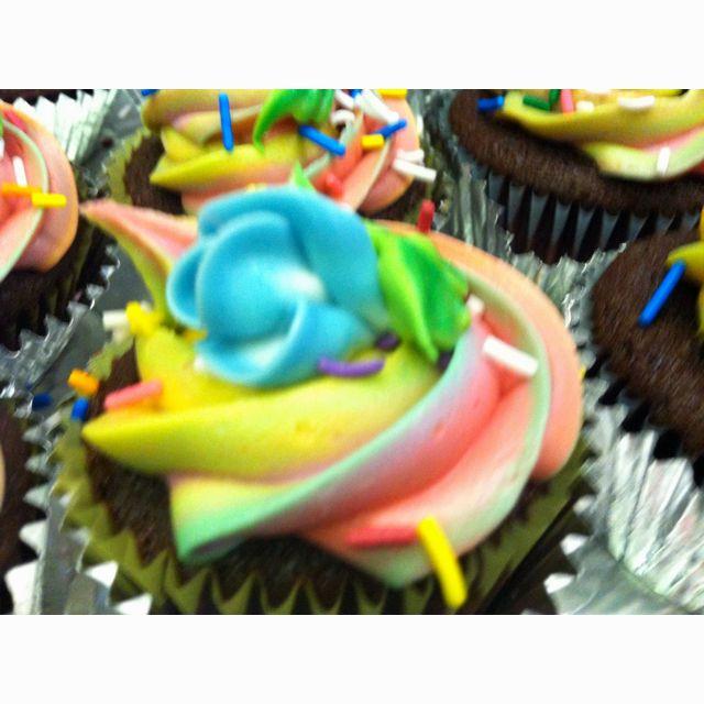 Tie dye with blue rose bud chocolate cupcake