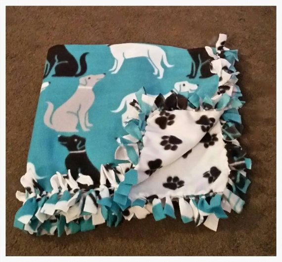 Fleece Pet Blanket Black Gray And White Dogs With Paw Print Back