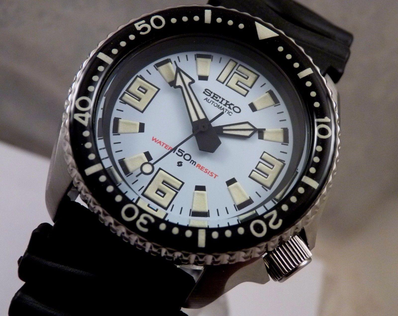 1d24681e6586 Seiko Ceramic Light Blue Giant Markers Automatic Scuba Diver Watch Custom  SKX007