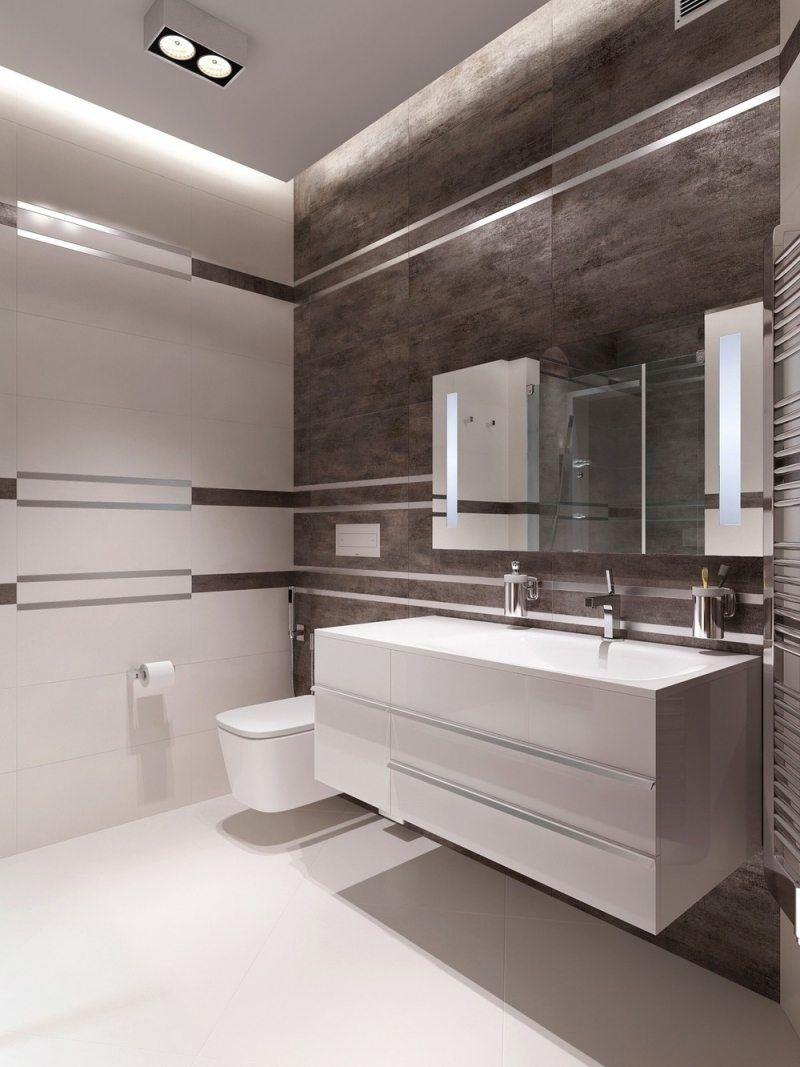 carrelage mural salle de bain blanc et gris, rectangulaire, pose ...