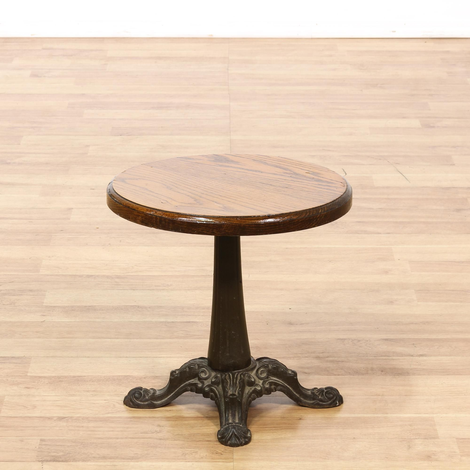 This Small Side Table Is Featured In A Solid Wood With A Glossy Oak Finish.  This End Table Has A Round Table Top With A Heavy Pedestal Base In A  Distressed ...