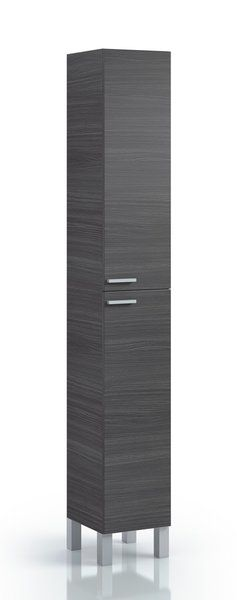 Mulberry Tall Narrow Bathroom Cupboard Oak Grey