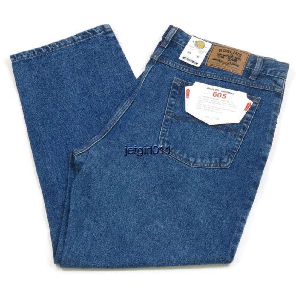 Roglins Mens Jeans Regular Fit Preshrunk Medium Blue 38 x 29 Style ...