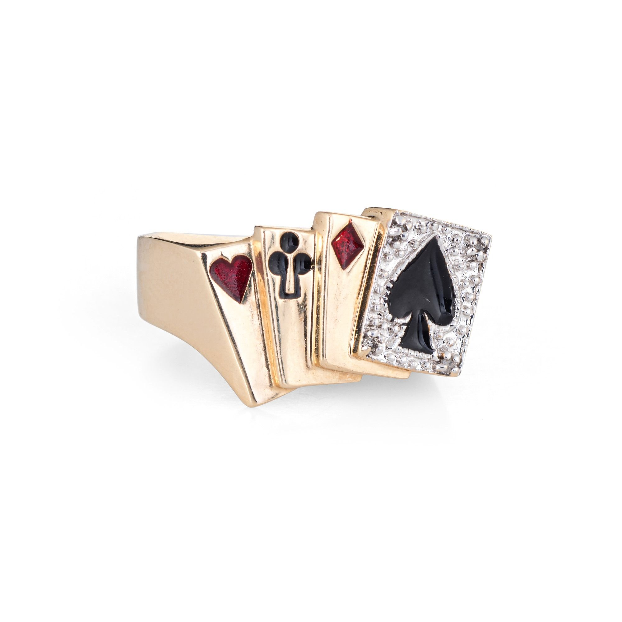 Estate Deck Of Cards Ring 10 Karat Gold Playing Cards Poker Gambling Jewelry 6 75 Gold Playing Cards Deck Of Cards Karat