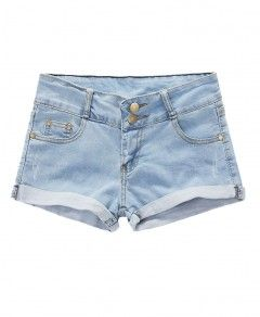 Rolled Cuffs Washed Denim Shorts in Light Blue