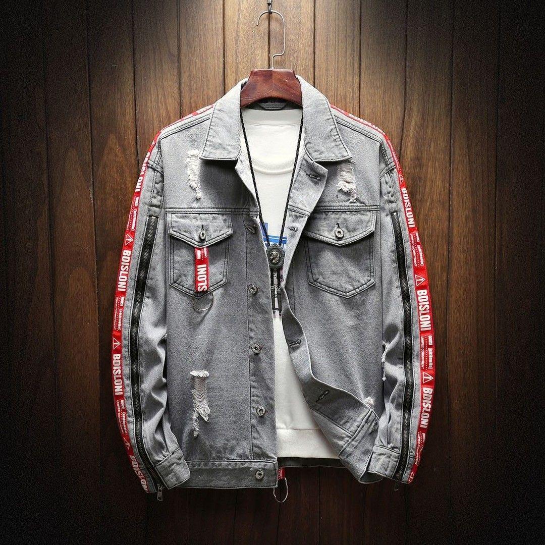 Denim Jacket For Men Holes Men S Autumn Winter Casual Vintage Wash Distressed Denim Jacket Coat Top Jackets Men Fashion Denim Coat Jacket Fall Fashion Coats [ 1080 x 1080 Pixel ]
