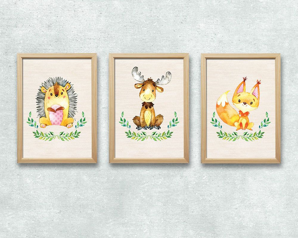 Cute Bild Set Wald Tiere Kunstdruck A Igel Elch Fuchs Kinderzimmer Deko Druck