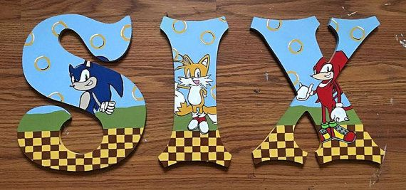 Sonic The Hedgehog Wooden Letters By Kraftykaitscreations On Etsy Wooden Letters Sonic Birthday Sonic Party