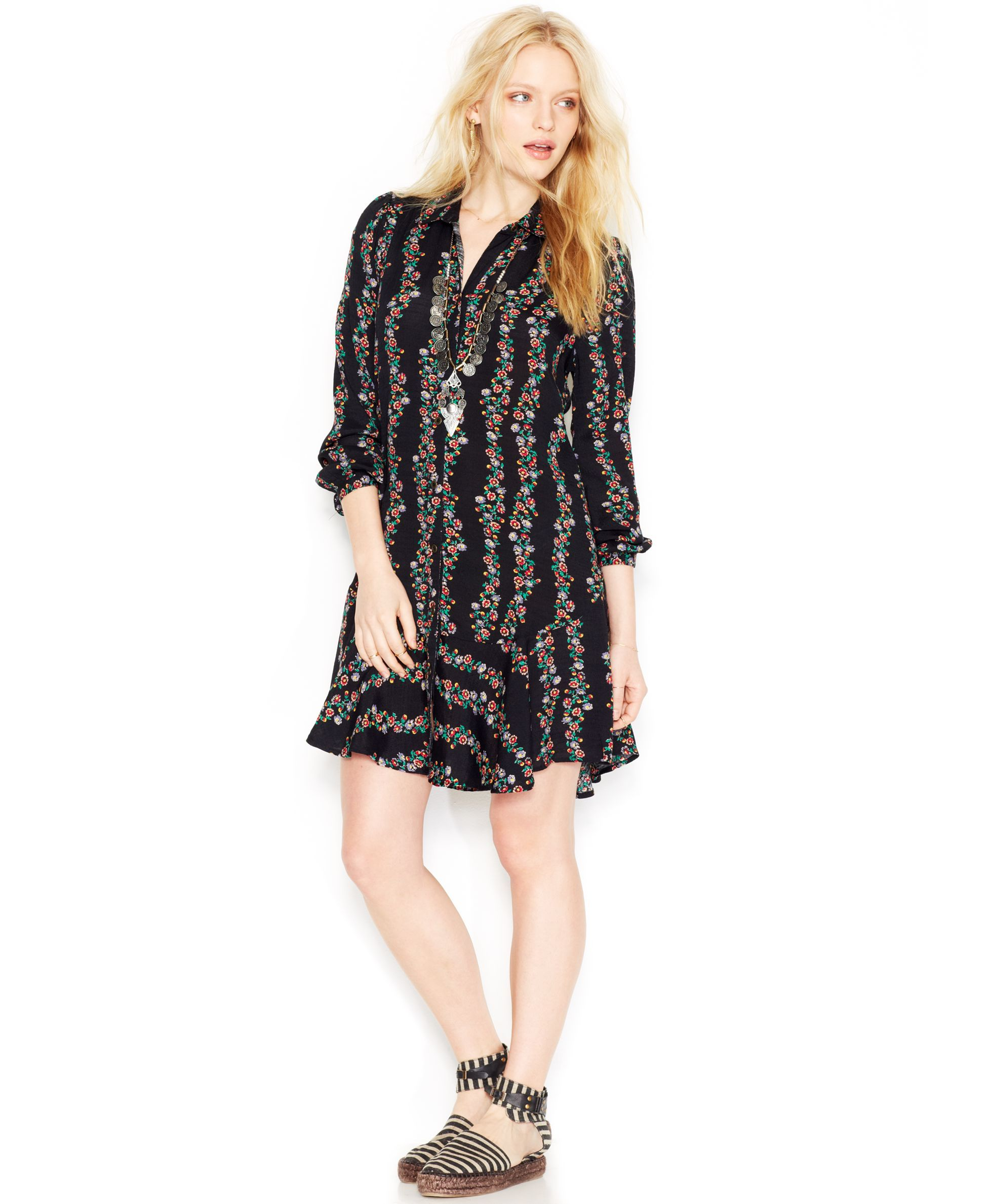 Free People Three-Quarter-Sleeve Floral-Print Button-Down Shirtdress