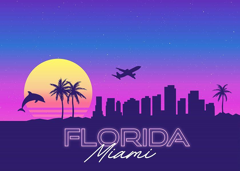Miami Florida Synthwave Skyline Vaporwave Wallpaper Synthwave Landscape Art