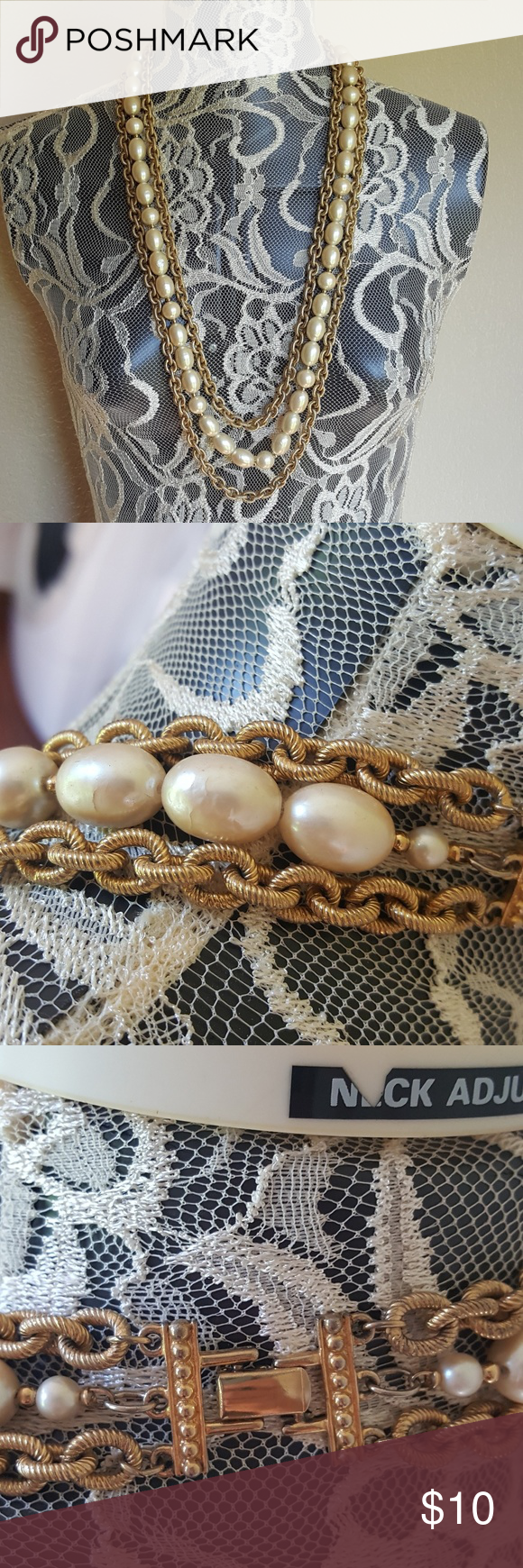 Layered gold chains and beaded necklace. Layered necklace Not adjustable  Very cute and in great condition Jewelry Necklaces