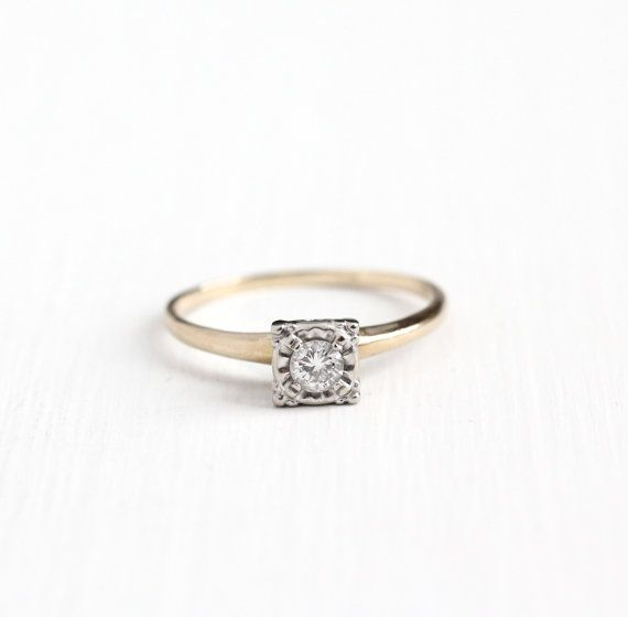 Vintage 14k Yellow White Gold 1 5 Carat Diamond Solitaire Ring Size 10 Mid Antique Engagement Rings Vintage Antique Rings Vintage Wedding Rings Engagement