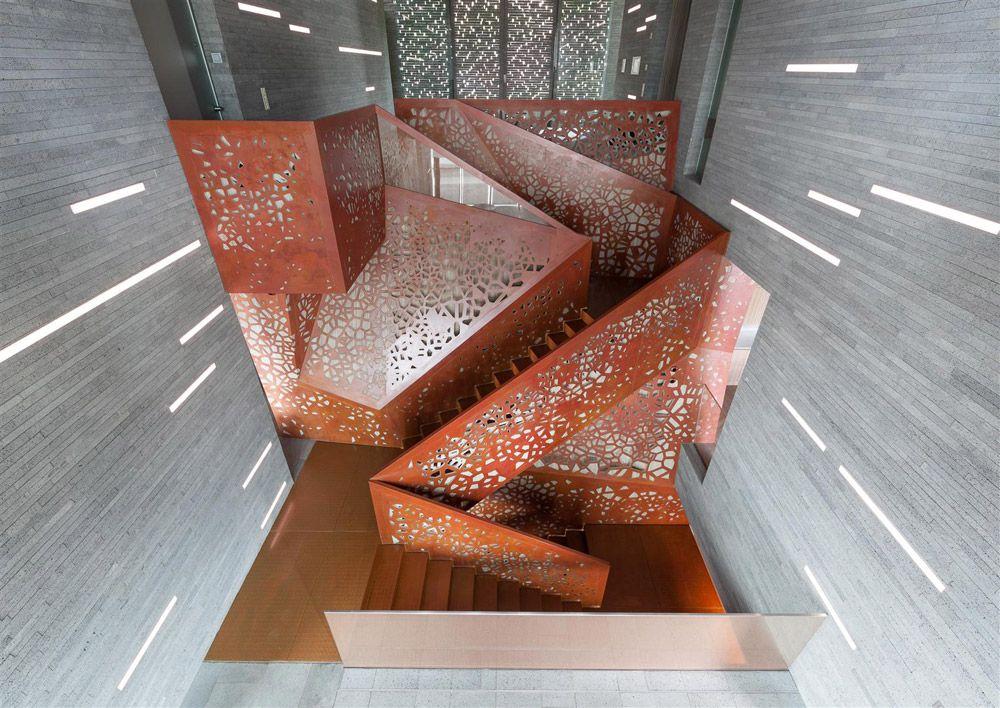 Perforated Copper Staircase • Villa Mallorca • Palma de Mallorca • Studio Mishin • 2014