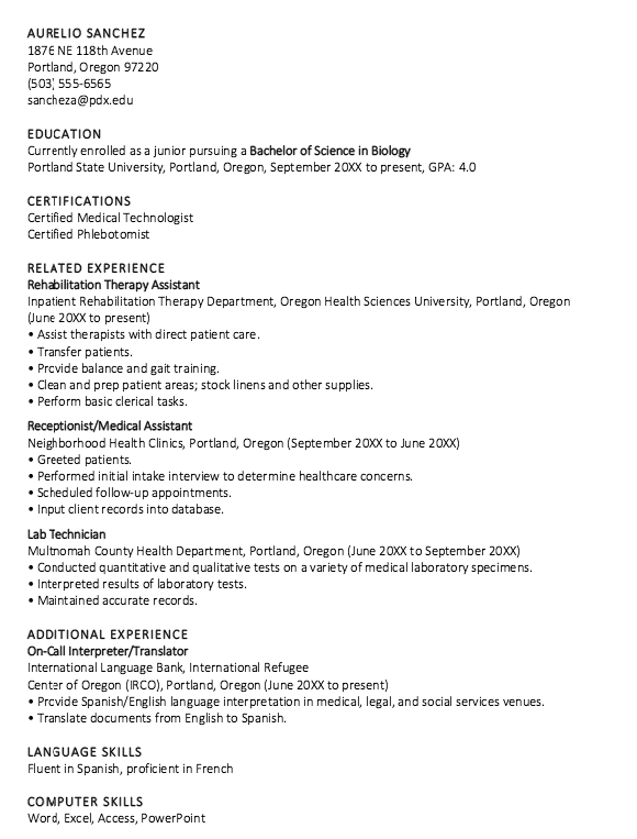 Resume Undergraduate Student With Certifications Examples Resume Cv Communication Images Undergraduate Resume