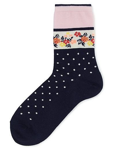 Block Floral Spotted Socks | M&S