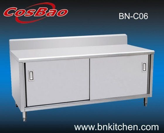Incredible Stainless Steel Commercial Kitchen Cabinet With Backsplash View Within Commercial Kitchen Cabinet