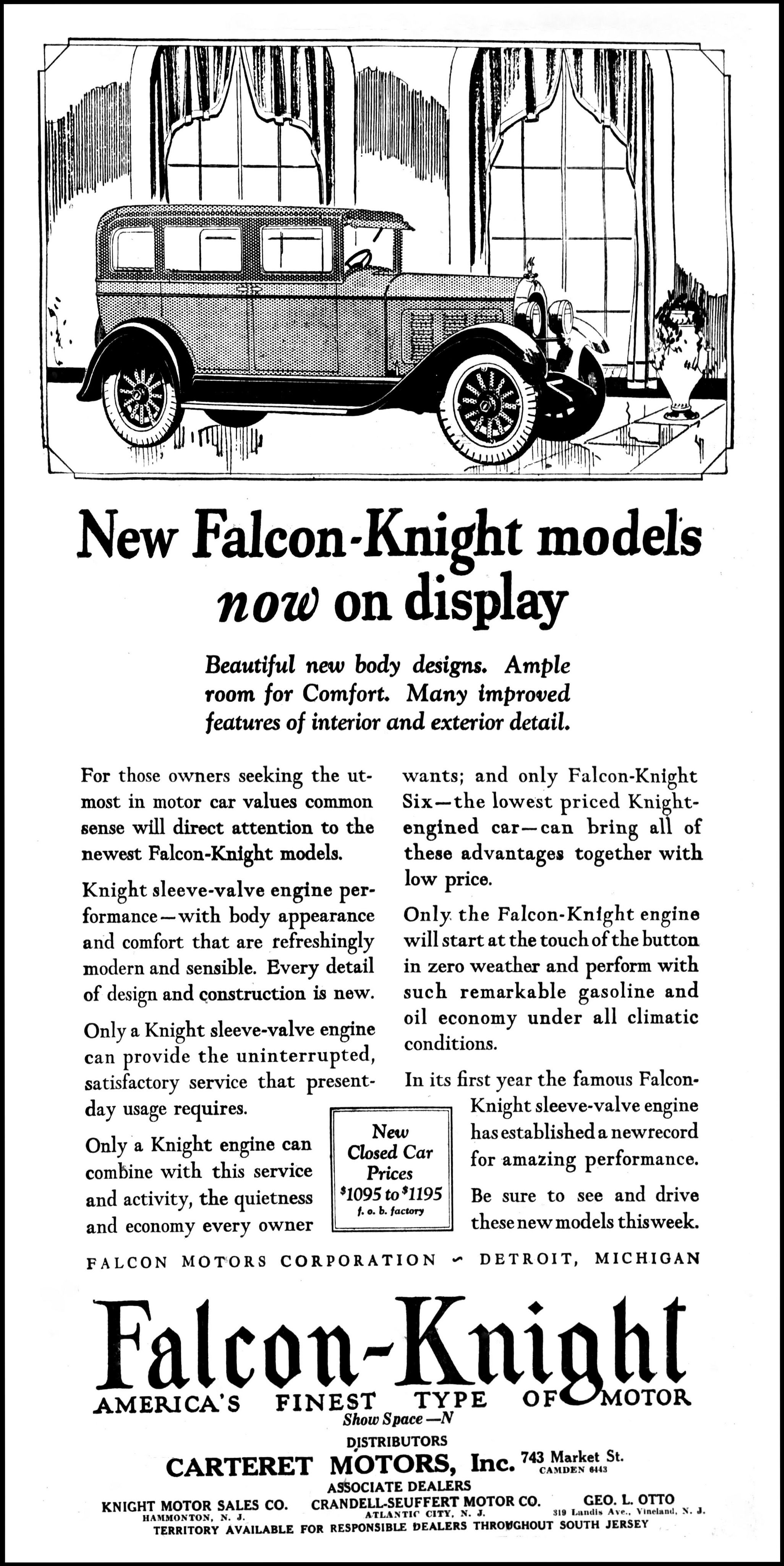 Vintage Advertising For The 1928 Falcon Knight Automobile In The Camden New Jersey Evening Courier Newspaper January 30 1928 Vintage Advertisements Automobile Camden New Jersey