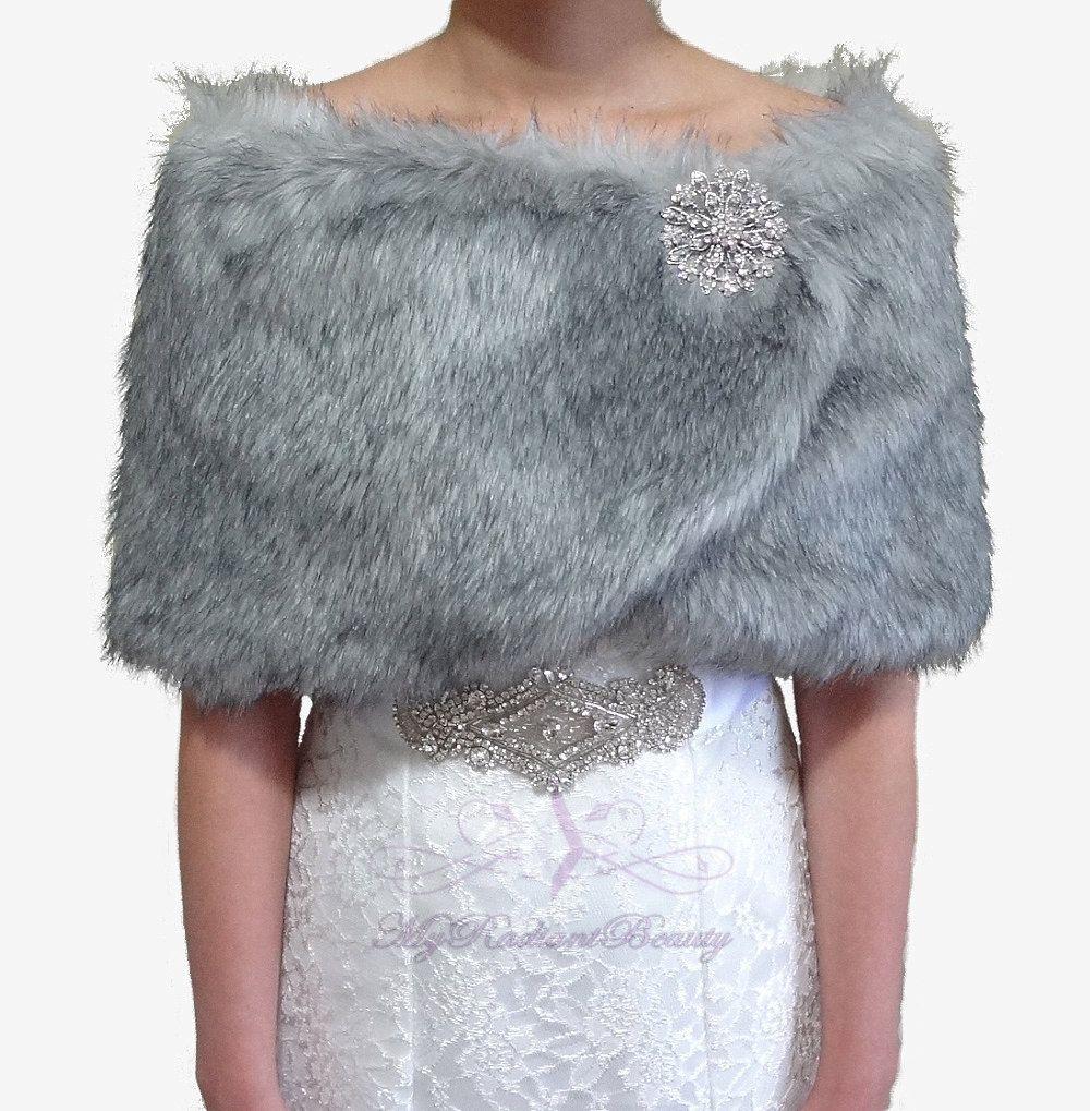 Faux Fur Stole, Bridal Shrug, Grey Chinchilla Bridal Wrap, Faux Fur ...