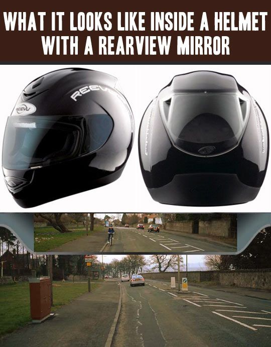 A Helmet With An Integrated Rear View Mirror The Meta Picture Helmet Rear View Mirror Cool Stuff