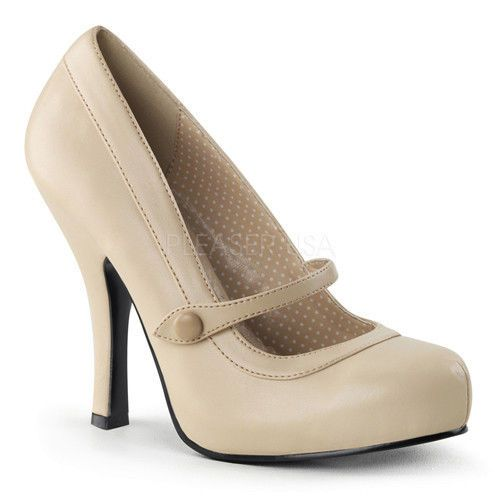 $60 - NWT PINUP COUTURE CUTIEPIE-02 MATTE NUDE PINUP PUMPS MARY JANE SHOES - 6