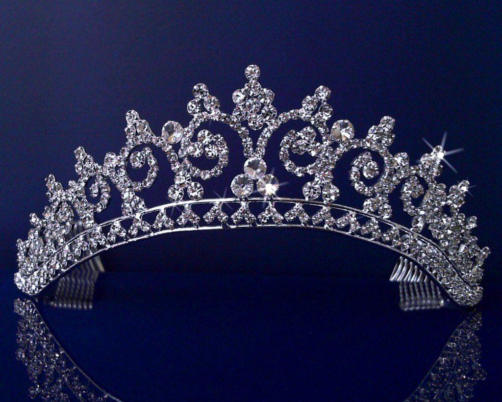 Trendy bridal headpiece - Rhinestones Crystal Wedding Bridal Pageant Princess Tiara Crown 3150