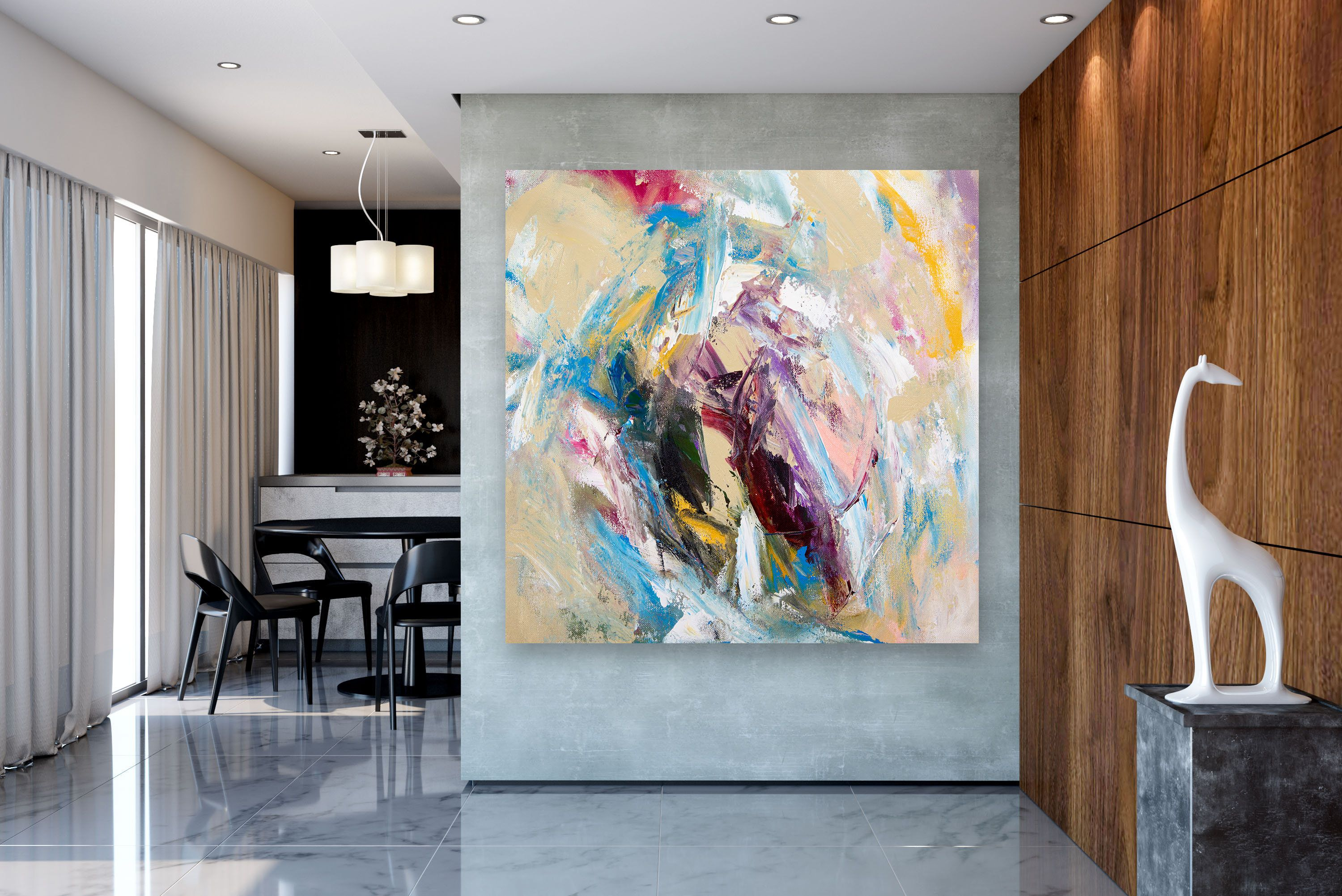 Large Abstract Painting Modern Abstract Painting Painting Colorful