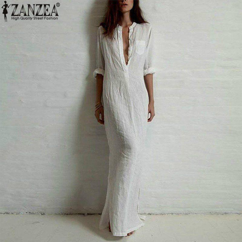 2ef5440fa9 Zanzea Fashion Vestidos 2016 Summer Women Sexy Casual Dress Long Sleeve  Deep V Neck Linen Split