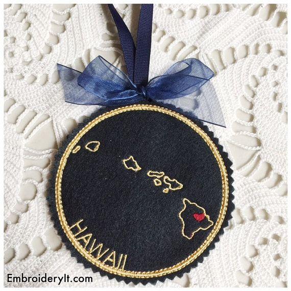 I Heart Hawaii Coaster And Ornament Machine Embroidery Design