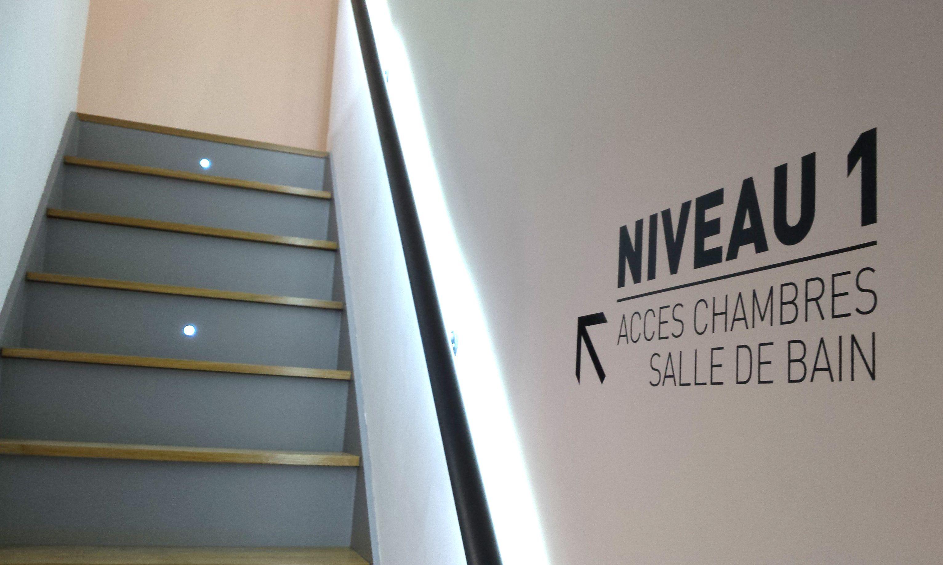 decoration escalier avec eclairage led derriere la rampe escaliers decor et loft. Black Bedroom Furniture Sets. Home Design Ideas